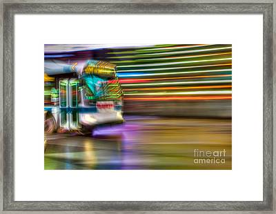 Times Square Bus Framed Print by Clarence Holmes