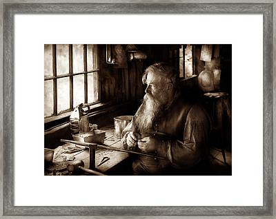 Tin Smith - Making Toys For Children - Sepia Framed Print by Mike Savad