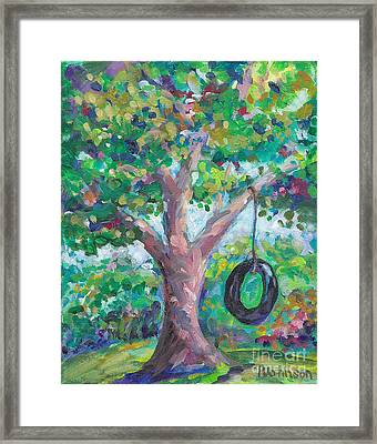 Tire Swing Framed Print by Peggy Johnson