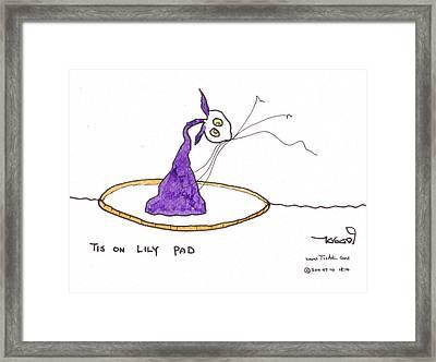 Tis On Lily Pad Framed Print by Tis Art