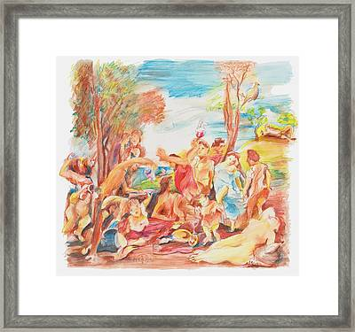 Titian Bacchanalia Color Framed Print by Gary Peterson