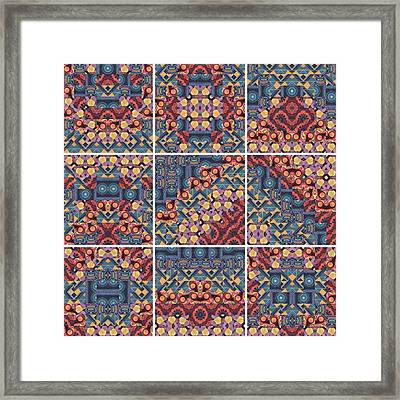 T J O D Mandala Series Puzzle 5 Variations 1 To 9 Framed Print by Helena Tiainen