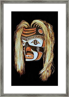 Tlingit Shark Mask In Color Framed Print by Cynthia Adams