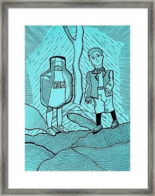 To Kill A Mockingbird Illustration In Aqua Framed Print by Laura Van Veen
