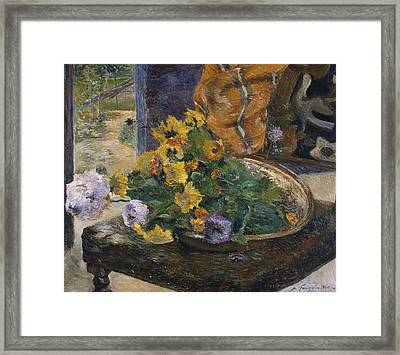 To Make A Bouquet Framed Print by Paul Gaugin