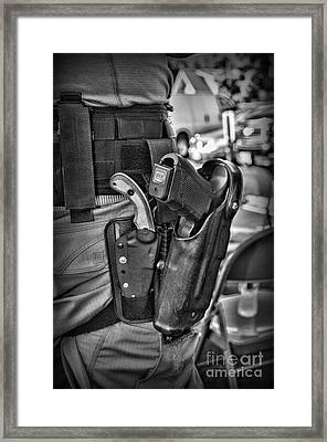 To Protect And Serve In Black And White  Framed Print by Paul Ward