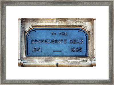 To The Confederate Dead Framed Print by John Rizzuto