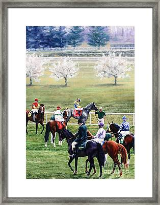 To The Gate At Keeneland Framed Print by Thomas Allen Pauly