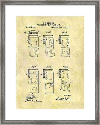 Toilet Paper Patent Illustration Framed Print by Dan Sproul