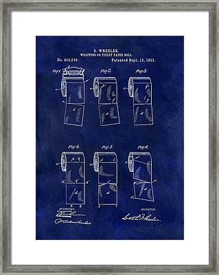 Toilet Paper Roll Patent Blue Framed Print by Dan Sproul