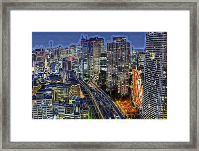 Tokyo Japan Skyline Framed Print by Marvin Blaine