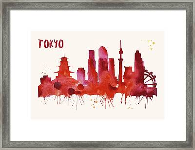 Tokyo Skyline Watercolor Poster - Cityscape Painting Artwork Framed Print by Beautify My Walls