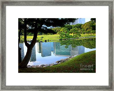 Tokyo Skyscrapers Reflection Framed Print by Carol Groenen