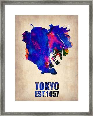 Tokyo Watercolor Map 2 Framed Print by Naxart Studio