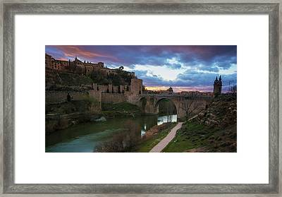 Toledo Spain Dusk Framed Print by Joan Carroll