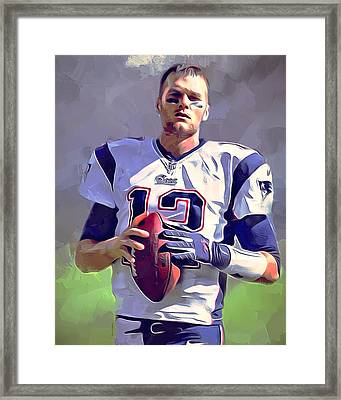 Tom Brady Portrait 2 Framed Print by Scott Wallace