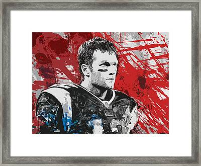 Tom Brady Red White And Blue Framed Print by John Farr