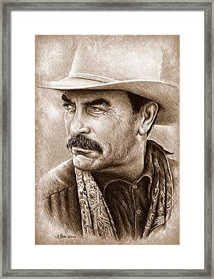 Cowboy Pencil Drawings Framed Print featuring the painting Tom Selleck The Western Collection by Andrew Read
