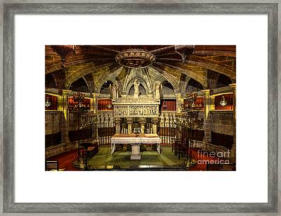 Tomb Of Saint Eulalia In The Crypt Of Barcelona Cathedral Framed Print by RicardMN Photography