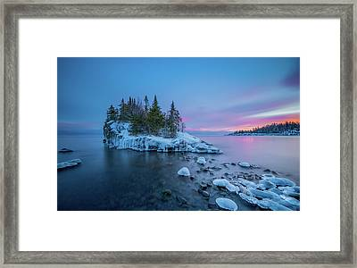 Tombolo Sunset // North Shore, Lake Superior  Framed Print by Nicholas Parker