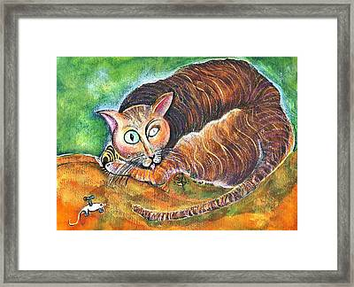 Tomcat And His Toy Framed Print by Ion vincent DAnu