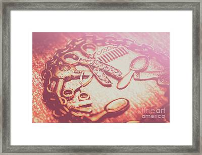 Toned Image Hair Styling Toys Surrounded By Chain On Table Framed Print by Jorgo Photography - Wall Art Gallery