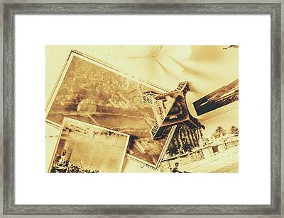 Toned Image Of Eiffel Tower And Photographs On Table Framed Print by Jorgo Photography - Wall Art Gallery