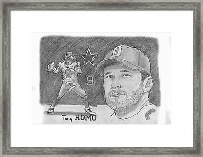 Tony Romo Framed Print by Chris  DelVecchio