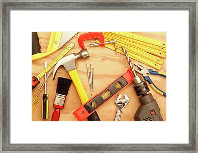 Tools Arrangement Framed Print by Les Cunliffe