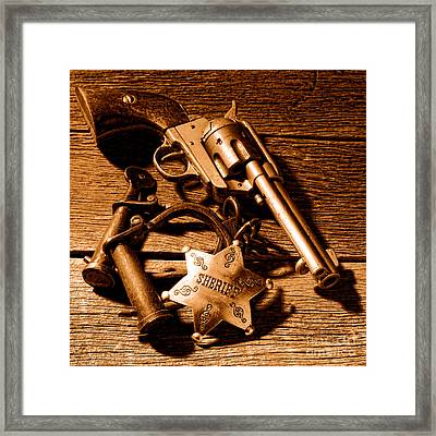 Tools Of Western Justice - Sepia Framed Print by Olivier Le Queinec