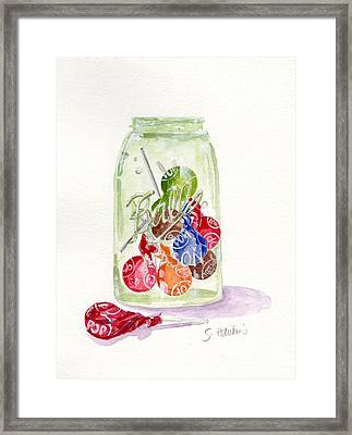 Tootsie Pop Jar Framed Print by Sheryl Heatherly Hawkins
