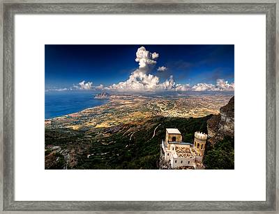 Top Of Erice Framed Print by Riccardo Mantero