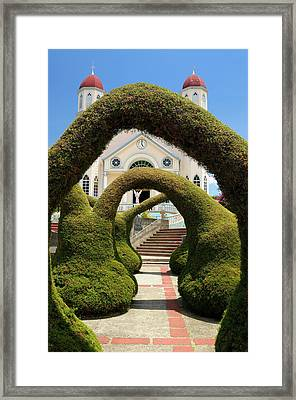 Topiary Garden Archways In Zarcero Costa Rica With Views Of The  Framed Print by Reimar Gaertner