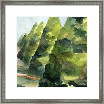Topiary Parc St Cloud Watercolor Painting Of France Framed Print by Beverly Brown Prints