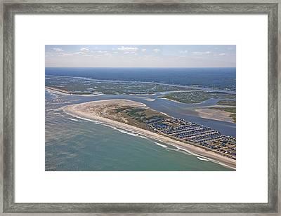 Topsail Island Aerial Framed Print by Betsy C Knapp