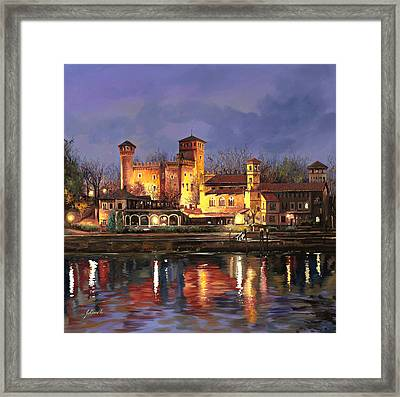 Torino-il Borgo Medioevale Di Notte Framed Print by Guido Borelli