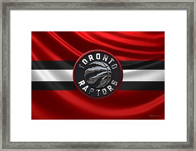 Toronto Raptors - 3 D Badge Over Flag Framed Print by Serge Averbukh