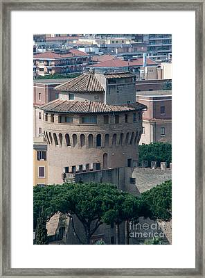 Torre San Giovanni St Johns Tower On The Ramparts Of The Walls Of The Vatican City Rome Framed Print by Andy Smy