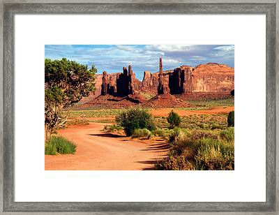 Totem Pole And Yei Bi Chei Framed Print by Lana Trussell