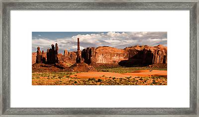 Totem Pole And Yei Bi Chei View Framed Print by Lana Trussell