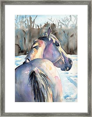Touch Of Grey Framed Print by Maria's Watercolor