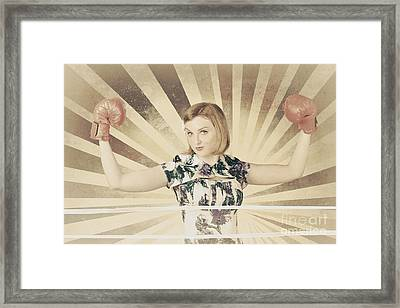Tough Vintage Boxing Girl Winning Round In Gloves Framed Print by Jorgo Photography - Wall Art Gallery