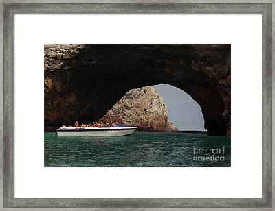 Tourist Boat At The Islas Ballestas Framed Print by Patricia Hofmeester
