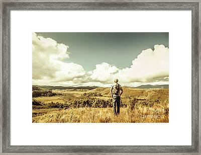 Tourist With Backpack Looking Afar On Mountains Framed Print by Jorgo Photography - Wall Art Gallery