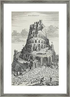 Tower Of Babylon Framed Print by Pierre Fourdrinier