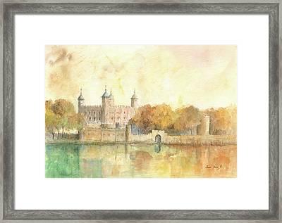 Tower Of London Watercolor Framed Print by Juan Bosco