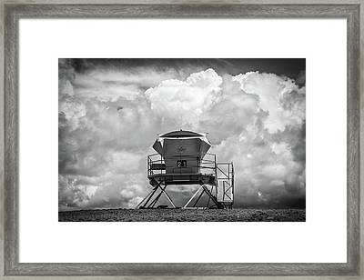 Towering In The Clouds Black And White Framed Print by Peter Tellone