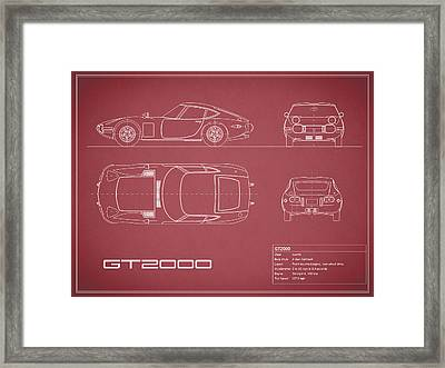 Toyota Gt2000 Blueprint Red Framed Print by Mark Rogan
