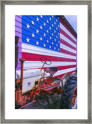 Tractor And Large Flag Framed Print by Garry Gay