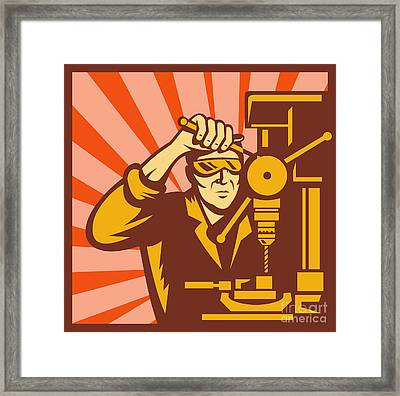 Trade Worker Drill Framed Print by Aloysius Patrimonio
